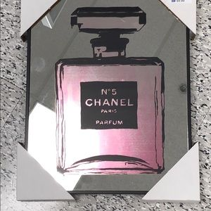 Chanel pink mirrored wall art